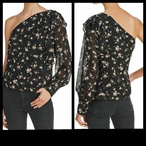 Bardot One Shoulder Floral Blouse Small NWT